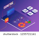 isometric vector. set of... | Shutterstock .eps vector #1255721161