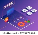 isometric vector. set of... | Shutterstock .eps vector #1255722544