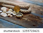 nautical background. old deck... | Shutterstock . vector #1255723621