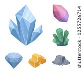 precious minerals cartoon icons ... | Shutterstock . vector #1255726714