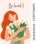 romantic  greeting card with a... | Shutterstock .eps vector #1255734694