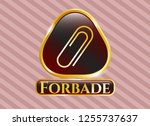 gold emblem or badge with... | Shutterstock .eps vector #1255737637