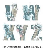 decorative set floral pattern... | Shutterstock .eps vector #1255737871