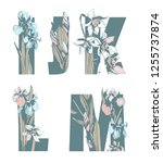 decorative set floral pattern... | Shutterstock .eps vector #1255737874