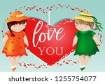 happy valentine's day. a pair... | Shutterstock .eps vector #1255754077