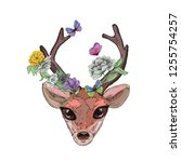 abstract deer head  flowers and ... | Shutterstock .eps vector #1255754257