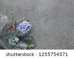 winter floral corner in green... | Shutterstock . vector #1255754371