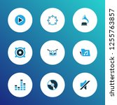 multimedia icons colored set... | Shutterstock . vector #1255763857