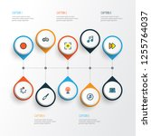 multimedia icons colored line... | Shutterstock .eps vector #1255764037
