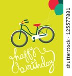 happy birthday greeting card.... | Shutterstock .eps vector #125577881