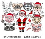 santa claus with cute animal... | Shutterstock .eps vector #1255783987