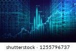 digital binary code matrix... | Shutterstock . vector #1255796737
