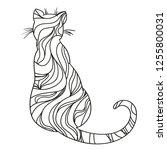 cat on white. zentangle. hand... | Shutterstock .eps vector #1255800031