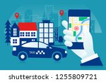 hand holding phone  taxi app... | Shutterstock .eps vector #1255809721