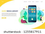 audio media library landing... | Shutterstock .eps vector #1255817911