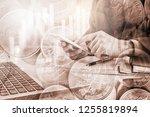 double exposure businessman and ... | Shutterstock . vector #1255819894
