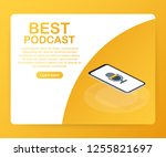 best podcast icon  vector... | Shutterstock .eps vector #1255821697