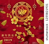 happy chinese new year 2019... | Shutterstock .eps vector #1255821931