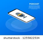 podcast icon  vector symbol in... | Shutterstock .eps vector #1255822534