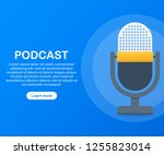 podcast icon  vector symbol in... | Shutterstock .eps vector #1255823014