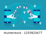 remittance. hand sending... | Shutterstock .eps vector #1255823677