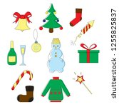 christmas and new year icons... | Shutterstock .eps vector #1255825837