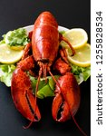 freshly boiled lobster with... | Shutterstock . vector #1255828534