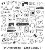 set of social media doodles | Shutterstock .eps vector #1255830877