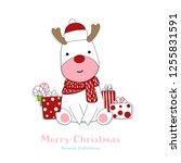 cute reindeer animal hand drawn ... | Shutterstock .eps vector #1255831591