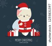 cute christmas gift animal hand ... | Shutterstock .eps vector #1255831597