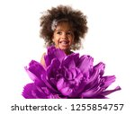 portrait of a little cute girl... | Shutterstock . vector #1255854757