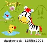 nice zebra cartoon with little...   Shutterstock .eps vector #1255861201