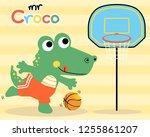 nice crocodile cartoon playing...   Shutterstock .eps vector #1255861207