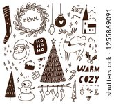 christmas doodle background | Shutterstock . vector #1255869091