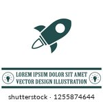 flying space rocket  vector... | Shutterstock .eps vector #1255874644
