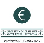 euro badge in black circle ... | Shutterstock .eps vector #1255874647