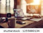 desk work of freelance in house ... | Shutterstock . vector #1255880134