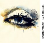 woman eye . hand painted... | Shutterstock . vector #125588831