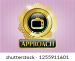 gold emblem with old tv ... | Shutterstock .eps vector #1255911601