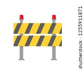 road closed street barrier on... | Shutterstock .eps vector #1255911871