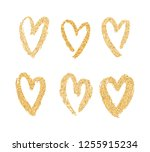 vector gold paint hearts set... | Shutterstock .eps vector #1255915234