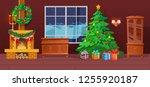festive interior of christmas... | Shutterstock .eps vector #1255920187