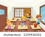 group of people cleaning... | Shutterstock .eps vector #1255926331