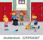 student cleaning school hallway ... | Shutterstock .eps vector #1255926367