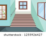 interior of school staircase... | Shutterstock .eps vector #1255926427