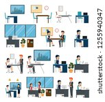 set business office with data... | Shutterstock .eps vector #1255940347