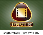 golden badge with film icon... | Shutterstock .eps vector #1255941187