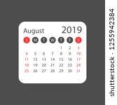 calendar august 2019 year in... | Shutterstock .eps vector #1255942384