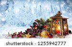 lantern with christmas... | Shutterstock . vector #1255942777