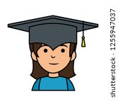 little schoolgirl with hat... | Shutterstock .eps vector #1255947037
